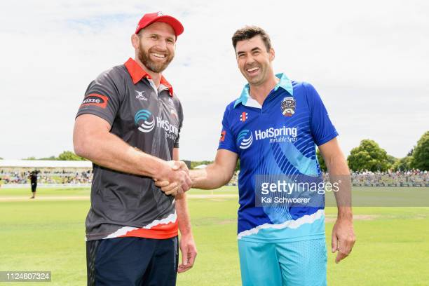 Captains Kieran Read of Team Rugby and Stephen Fleming of Team Cricket shake hands prior to the New Zealand T20 Black Clash at Hagley Oval on January...