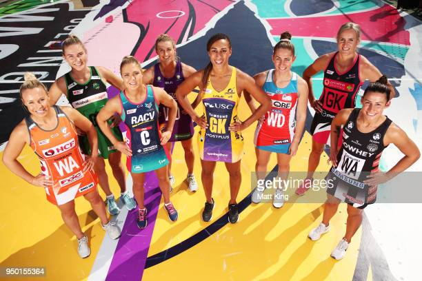 Captains Kimberlee Green of Giants Netball Courtney Bruce of the West Coast Fever Kate Maloney of the Melbourne Vixens Gabi Simpson of the Queensland...