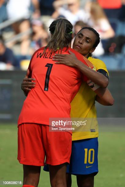 Captains Lydia Williams and Marta hug after a women's soccer match between Brazil and Australia in the 2018 Tournament of Nations on July 26 2018 at...