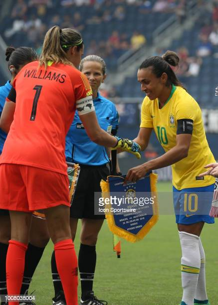 Captains Lydia Williams and Marta shake hands before a women's soccer match between Brazil and Australia in the 2018 Tournament of Nations on July 26...