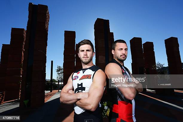 Captains Marc Murphy of Carlton and Jarryn Geary of St Kilda pose in front of the Australian Memorial following an AFL press conference at the...