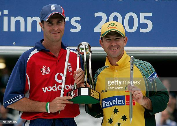Captains Michael Vaughan of England and Ricky Ponting of Australia hold the Trophy after the NatWest Series One Day International Final between...