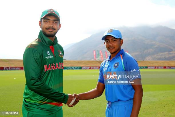 Captains Mohammed Saif Hassan of Bangladesh and Prithvi Shaw of India pose for a photo ahead of the ICC U19 Cricket World Cup match between India and...