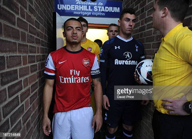 Captains Nico Yennaris of Arsenal and Grant Hall of Spurs wait in the tunnel to lead out their teams before the Barclays Premier U21 match between...