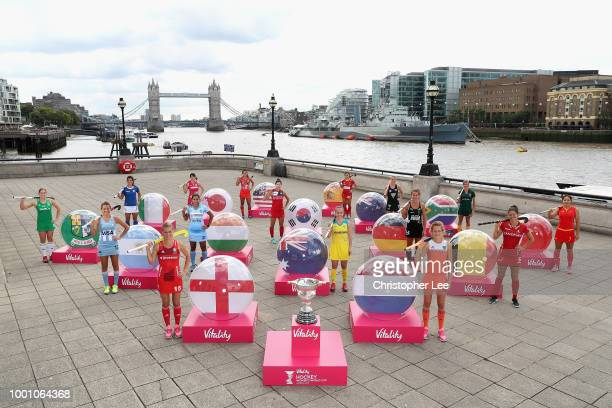 Captains of all 16 nations Delfina Merino of Argentina Emily Smith of Australia Anouk Raes of Belgium Qiuxia Cui of China Alex Danson of England...