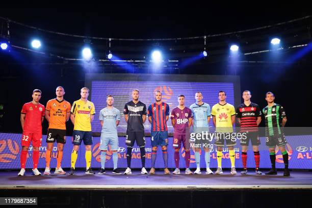 Captains of all teams pose on stage during the A-League 2019-20 A-League season launch at Max Watts on October 08, 2019 in Sydney, Australia.