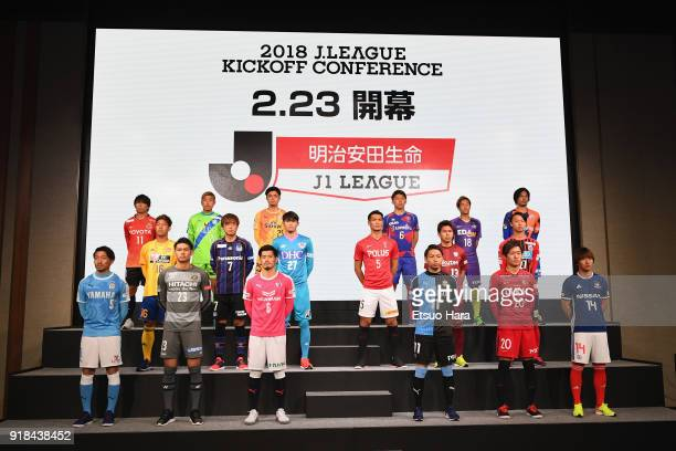 Captains of JLeague J1 clubs line up on stage during the JLeague Kick Off Conference on February 15 2018 in Tokyo Japan