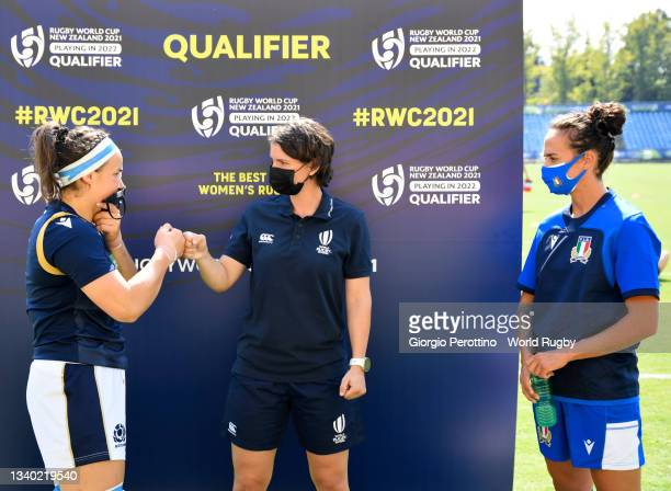 Captains of Scotland and Italy attend the draw of the field during the Scotland v Italy Rugby World Cup 2021 Europe Qualifying match at Stadio Sergio...