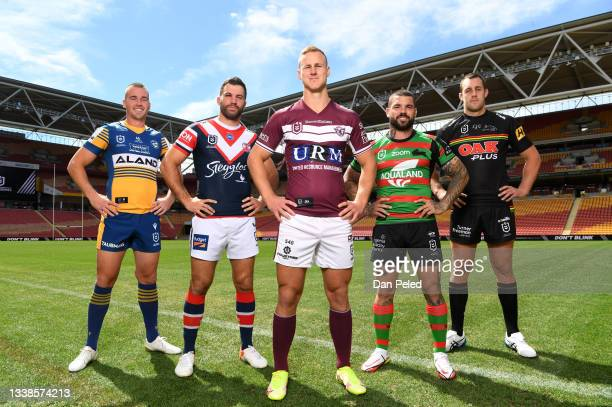 Captains of Sydney based teams Clint Gutherson of the Parramatta Eels, James Tedesco of the Sydney Roosters, Daly Cherry-Evans of the Manly-Warringah...