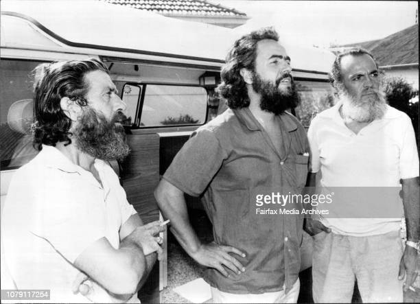Captains of the Las Balsa rafts at the home of Mr Sid Molen Pendle Hill who followed their journey on his transmitter Lt to Rt Marc Modena of France...