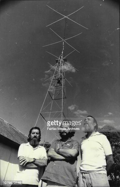 Captains of The Las Balsa rafts at the home of Mr Sid Molen Pendle Hill who followed their journey on his transmitterLt to Rt Marc Modena of France...