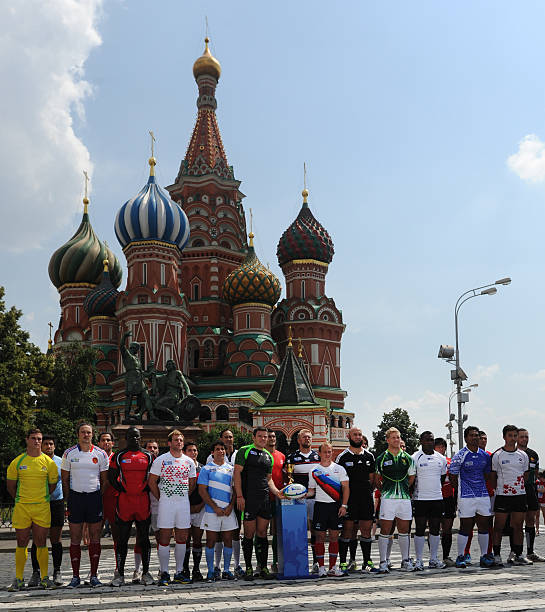 Captains Of The National Mens Rugby Teams Pose With 2016 World Cup Sevens Trophy In Front Landmark St Basil S Cathedral At Red Square