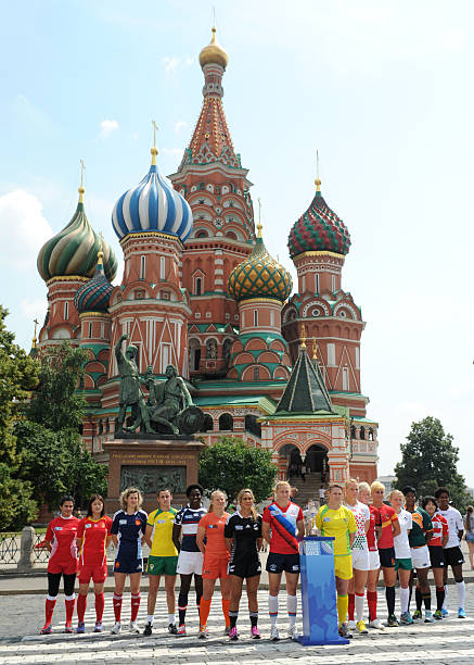 Captains Of The National Womens Rugby Teams Pose With 2016 World Cup Sevens Trophy In Front Landmark St Basil S Cathedral At Red Square