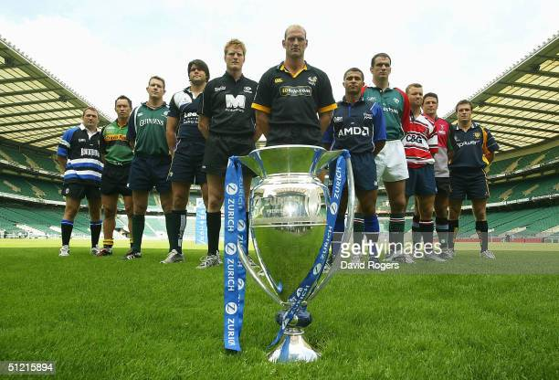 Captains of the Zurich Premiership teams Jonathan Humphreys of Bath Bruce Reihana of Northampton Saints Ryan Strudwick of London Irish Tom Palmer of...