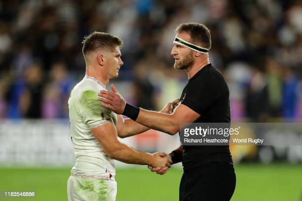 Captain's Owen Farrell of England and Kieran Read of New Zealand shake hands after the final whistle during the Rugby World Cup 2019 SemiFinal match...
