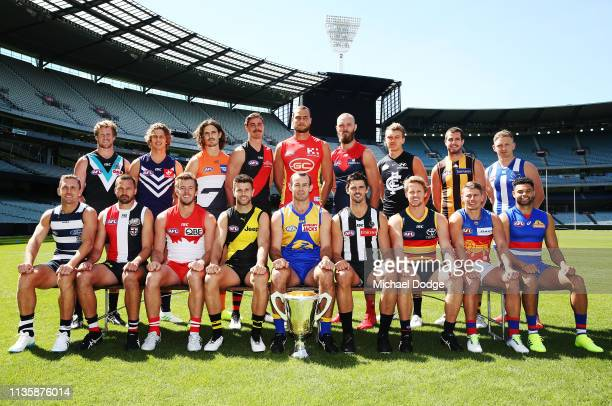 Captains pose during the AFL 2019 Captain's Day at Marvel Stadium on March 15 2019 in Melbourne Australia