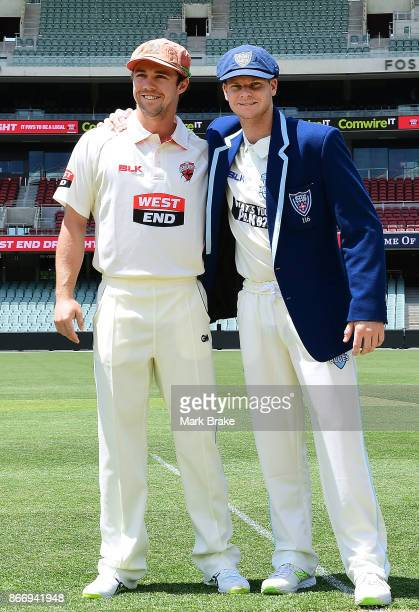 Captains SA Travis Head and NSW Steve Smith at the coin toss during day one of the Sheffield Shield match between South Australia and New South Wales...