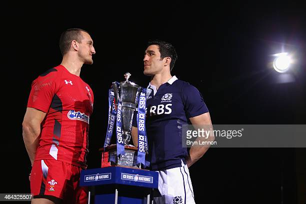 Captains Sam Warburton of Wales and Kelly Brown of Scotland pose for a photo during the RBS Six Nations Launch at The Hurlingham Club on January 22...