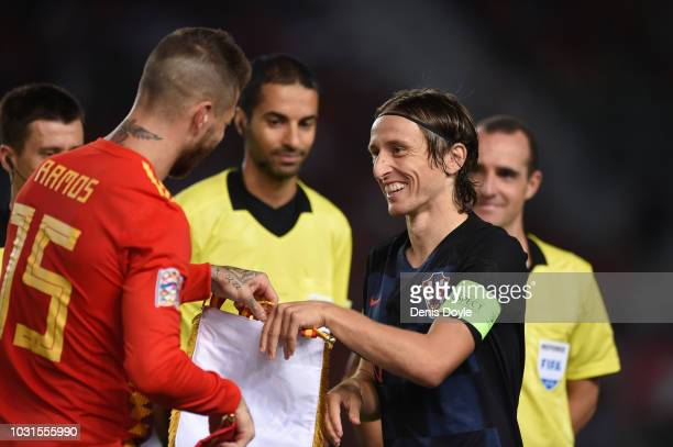 Captains Sergio Ramos of Spain and Luka Modric of Croatia exchange pennants prior to the UEFA Nations League A Group four match between Spain and...