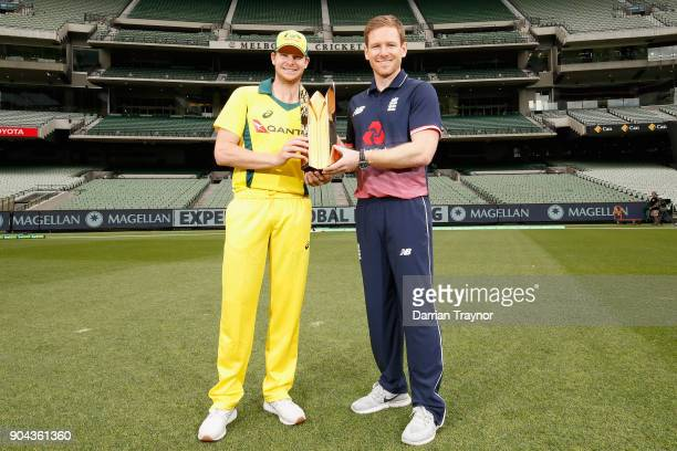 ODI captains Steve Smith and Eoin Morgan pose for a photo with the Gillette ODI series trophy on January 13 2018 in Melbourne Australia
