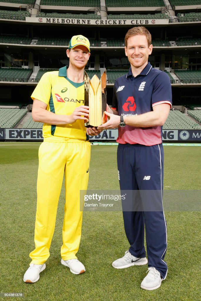 ODI captains Steve Smith and Eoin Morgan pose for a photo with the Gillette ODI series trophy on January 13, 2018 in Melbourne, Australia.