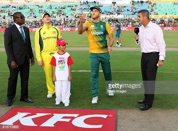 Captains Steven Smith of Australia and Faf du Plessis of South Africa toss the coin before the 1st T20 International match between South Africa and...