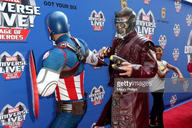 Captian America and StarLord attend Marvel Universe Live Age of Heroes world premiere at Staples Center on July 8 2017 in Los Angeles California