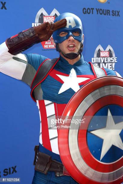 Captian America attends Marvel Universe Live Age of Heroes world premiere at Staples Center on July 8 2017 in Los Angeles California