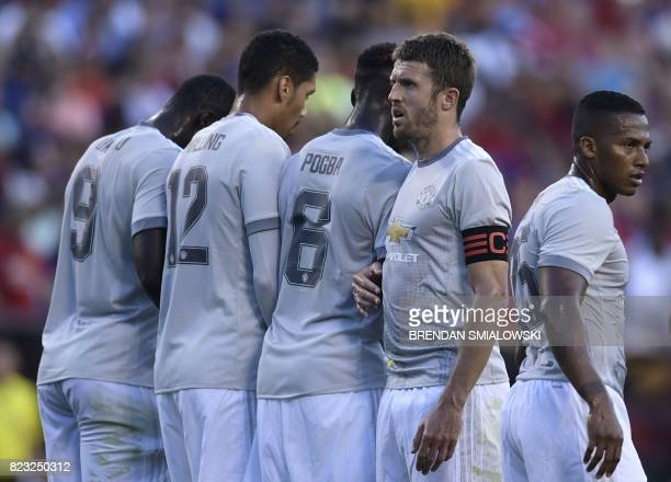 Captian Michael Carrick of Manchester United looks on during their International Champions Cup football match against Barcelona on July 26 2017 at...
