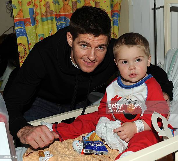 Captian of Liverpool Steven Gerrard goes to visit Corey at Alder Hey Children's Hospital on December 22 2009 in Liverpool England
