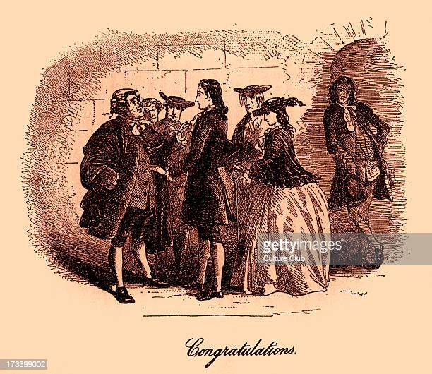 Caption reads 'Congratulations' Dr Manette Lucie and the defence lawyers Mr Lorry and Mr Stryver gather outside the court to congratulate Charles...