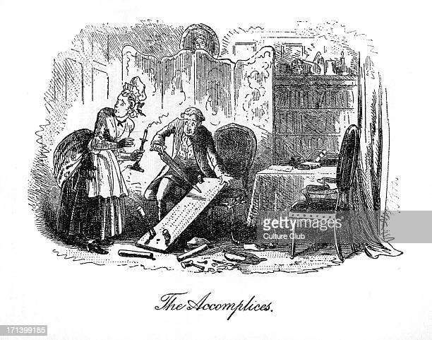 Caption reads 'The Accomplices' Miss Pross holds the candle while Jarvis Lorry destroys Dr Manette's shoemaking bench CD English novelist 7 February...