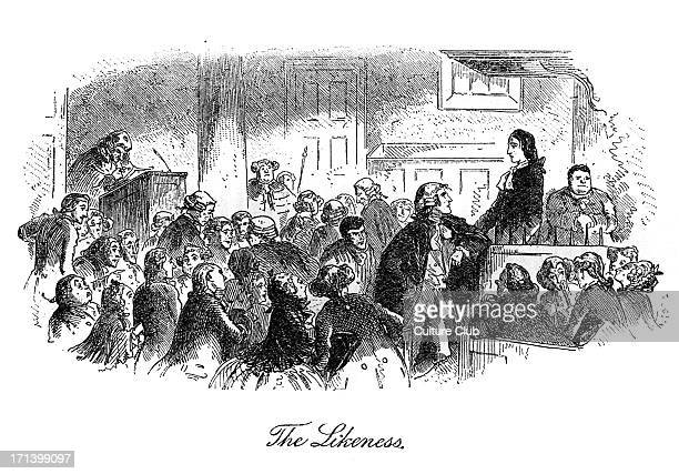 Caption reads 'The Likeness' A witness confuses Charles Darnay with the barrister Sydney Carton leading to Darnay being acquitted of treason CD 7...