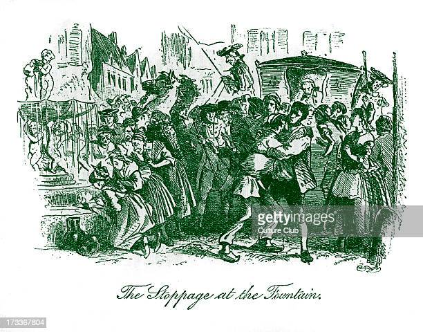 Caption reads 'The Stoppage at the Fountain' The carriage carrying the angry Marquis St Evrémonde accidentally runs over a child CD 7 February 1812 –...
