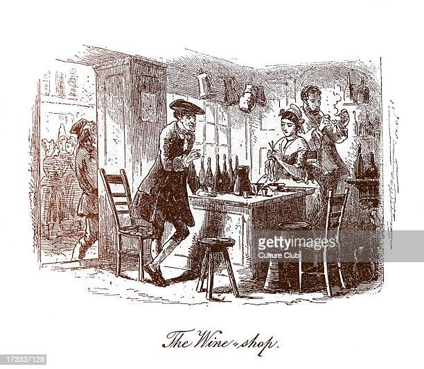 Caption reads 'The Wine Shop' John Barsad tells Monsieur and Madame Defarge that Lucie is to marry Charles Darnay CD English novelist 7 February 1812...