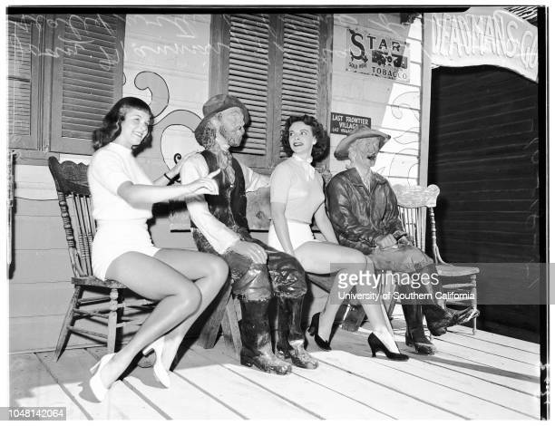 'Photographer Miller Reporter Sansone Assignment Last Frontier Village Monday 3334 Joan ManningLoraine Knight seated with old time figures 3132 Wade...