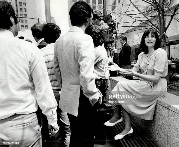 Captive audience Arlene Perly Rae is backed into a quiet corner as husband and New Democratic Party leade Bob Rae holds a press conference outside...
