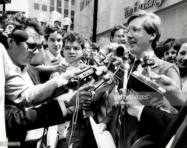 Captive audience Arlene Perly Rae is backed into a quiet corner as husband and New Democratic Party leader Bob Rae holds a press conference outside...