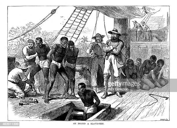 Captives being brought on board a slave ship on the West Coast of Africa , c1880. Although Britain outlawed slavery in 1833 and it was abolished in...