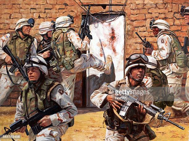 Capture at Ar Ramadi Iraq August 20 2003 American National Guard troops prepare to enter an insurgent stronghold in Iraq Oil on canvas 2006 |...