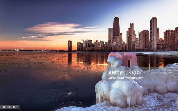 Capture of Chicago skyline and Lake Michigan under the Feb 2014 Weather event know as polar vortex