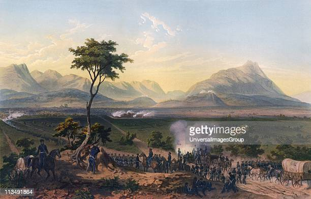 Capture of Monterey' handcoloured lithograph after Carl Nebel MexicanAmerican War 18461848 Battle of Monterrey 2124 September 1846 Mexican Army of...