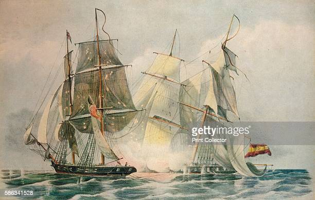 'Capture of the Spanish slave vessel Dolores by HM brig Ferret Captain James Stirling 4 April 1816' 1816 From Adventures By Sea From Art of Old Time...