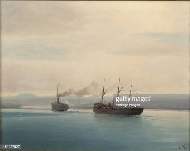 Capture of the Turkish Troopship Mersina by the Steamer Russia on 13 December 1877 1877 From a private collection