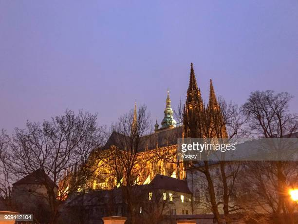 capture part of the prague castle at the evening, czech republic - vsojoy stock pictures, royalty-free photos & images