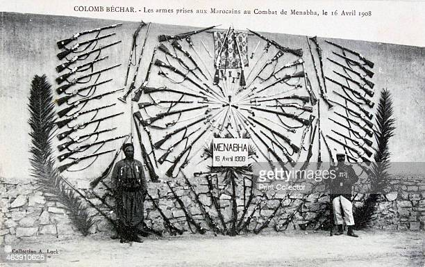 Captured arms from the battle of Menabha ColombBéchar Algeria c1910 The Battle of Menabha was fought between soldiers of the French Foreign Legion...