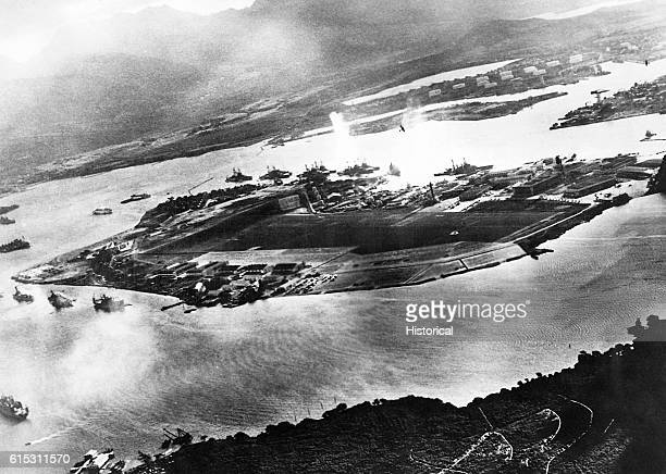 A captured Japanese photograph taken during the attack on Pearl Harbor Hawaii December 7 1941