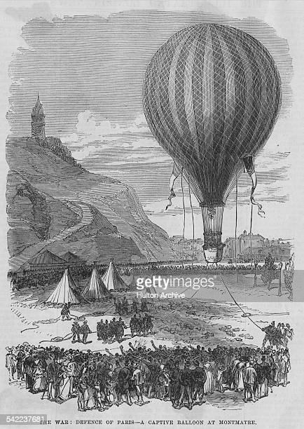 A captured Prussian hot air observation balloon is launched near Montmatre at the siege of Paris during the FrancoPrussian War on 1 February 1871 at...