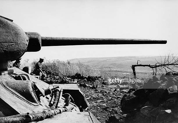 A captured Syrian T34 tank pointing toward Israel during the SixDay War June 1967
