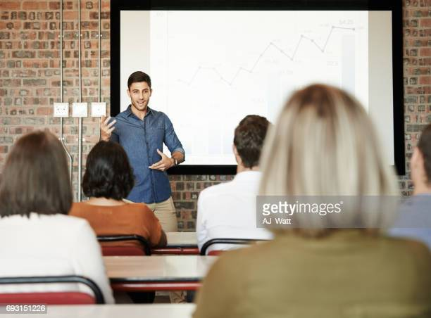Capturing his audience's attention with key notes